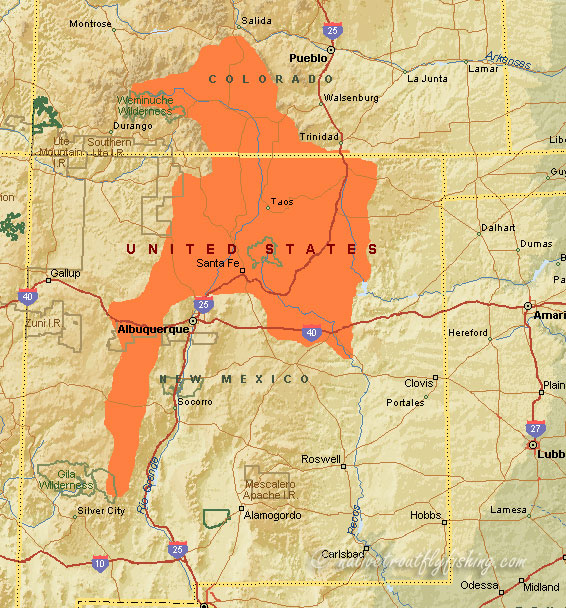 Native trout fly fishing rio grande cutthroat trout for Trout fishing new mexico map